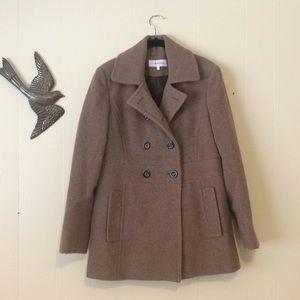 Calvin Klein Tan Wool Coat. Size 8